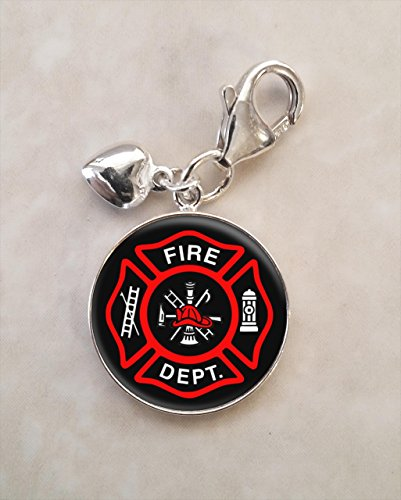 Fire Department Firefighter Symbol .925 Sterling Silver (Firefighter Symbol Charm)
