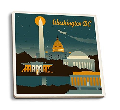 Lantern Press Washington, DC - Retro Skyline (Set of 4 Ceramic Coasters - Cork-Backed, Absorbent)