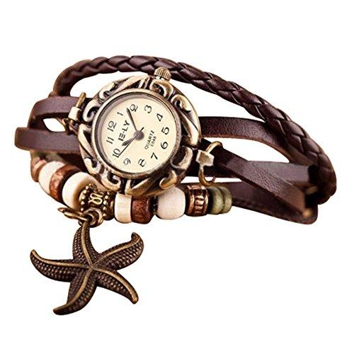 PromiseU-Fashion-Lady-Women-Starfish-Decoration-Faux-Leather-Strap-Bracelet-Quartz-Wrist-Watch
