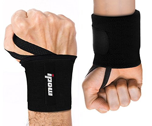 IPOW Adjustable Weight Lifting Training Wrist Straps Support Braces Wraps Belt Protector for Weightlifting Powerlifting Bodybuilding - for Women and Men,Set of 2 (Black) ()