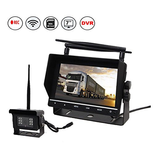 Eway Truck Trailer RV Pickup Truck Vans Super Heavy Duty Wireless Backup Rear View Reverse Camera KIT With DVR 8GB SD (Dvr Card Kit)