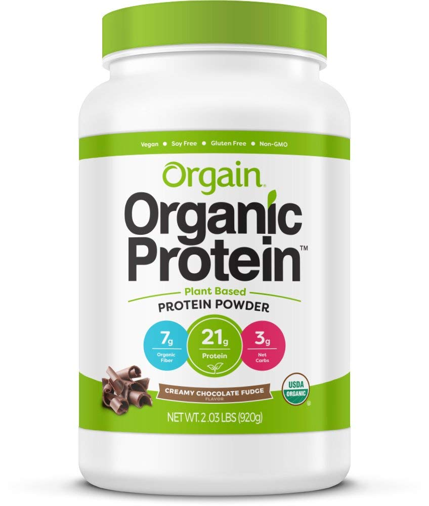 Orgain Organic Plant Based Protein Powder, Creamy Chocolate Fudge - Vegan, Low Net Carbs, Non Dairy, Gluten Free, Lactose Free, No Sugar Added, Soy Free, Kosher, Non-GMO, 2.03 Pound by Orgain