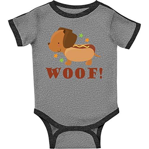 inktastic Dachshund Hot Dog Infant Creeper Newborn Ringer Heather and - Ringer Dachshund
