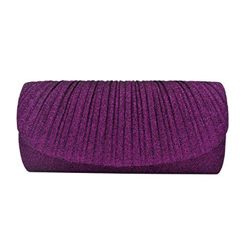 - Premium Pleated Metallic Glitter Flap Clutch Evening Bag Handbag, Purple