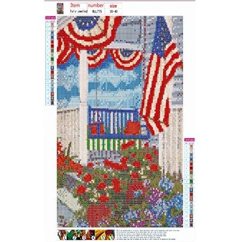 iBOXO 5D DIY Diamond Painting Kits Independence Day Embroidery Round Diamond Paintings Pictures Arts Home Wall Decor ()