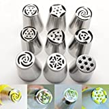 cake yeast wet - 9PCS/set Big Size Russian Tulip Stainless Steel Icing Piping Nozzles Tip Russia Nozzl Stainless Pastry tools dessert decorators