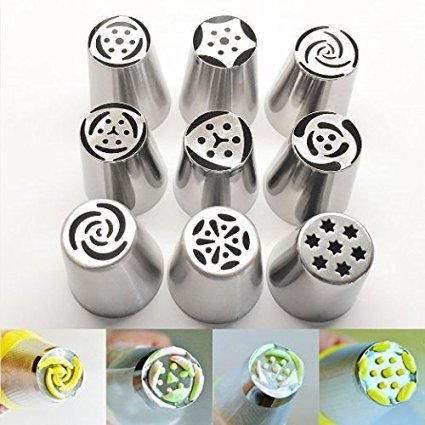 9PCS/set Big Size Russian Tulip Stainless Steel Icing Piping Nozzles Tip Russia Nozzl Stainless Pastry tools dessert (Cake Boss Halloween Costume)