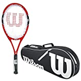 Cheap Wilson Federer 100 Black/Red Midplus 16×19 Pre-Strung Recreational Tennis Racquet (4 3/8″ Grip) Starter Kit or SetBundled with a Black/White Advantage II Tennis Racket Bag