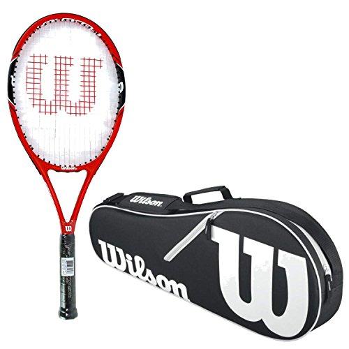 (Wilson Federer 100 Black/Red Midplus 16x19 Pre-Strung Recreational Tennis Racquet (4 3/8