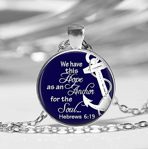 (Anchor of Hope Glass Photo Necklace , Religious Jewelry, Christian Necklace, Bible Class Ladies Retreat Gift ,Nautical Hebrews 6:19)