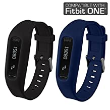 Fitbit One Buckle Bracelet - Adjustable Wristband and Wristwatch Style - Fitbit One Silicone Replacement Secure Band with Chrome Watch Clasp and Fastener Buckle - Fix the Tracker Fall Off Problem