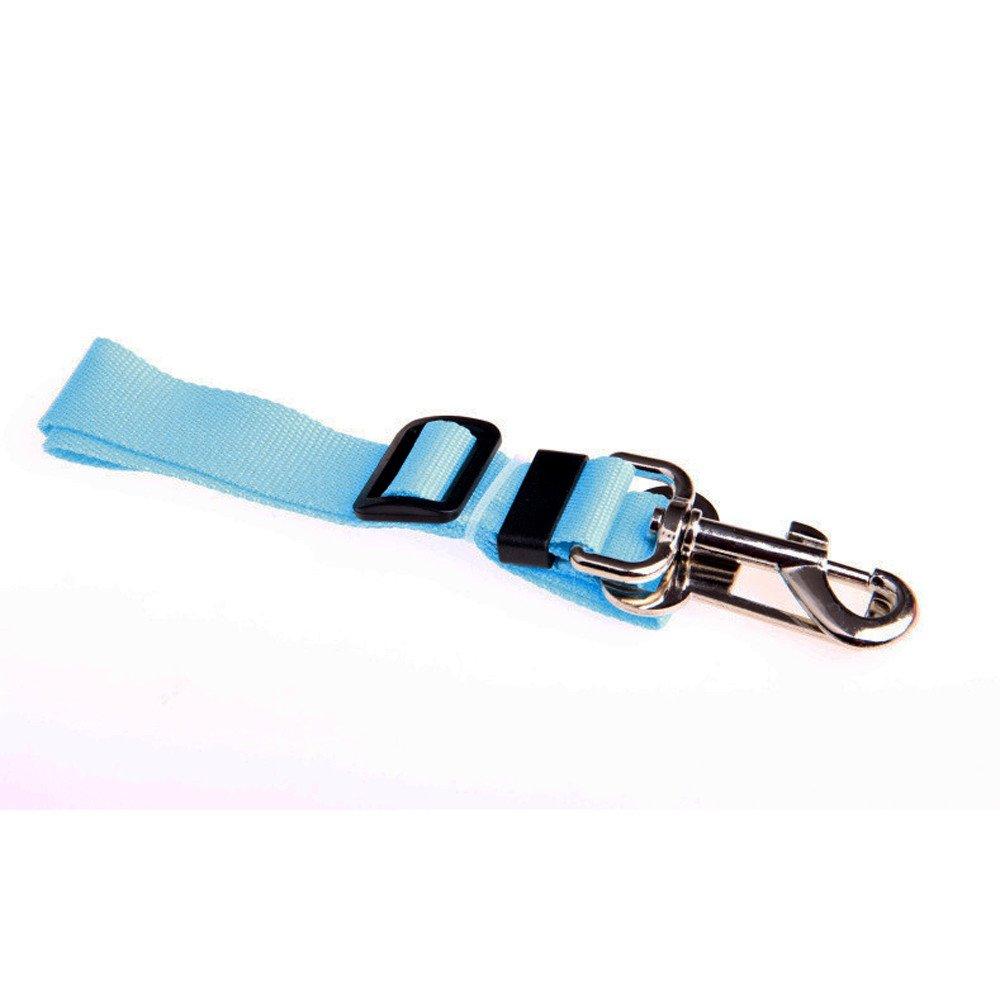 HUN Huangou Easy to snap un-Latch to car's Seatbelt Buckle- Car Seat Belt Seatbelt Lead Clip Pet Cat Dog Safety (Sky Blue, About 42-68 cm/16.54''~26.78'')