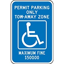 "Accuform Signs FRA195RA Engineer-Grade Reflective Aluminum Handicapped Parking Sign (Georgia-Metro Atlanta), Legend ""PERMIT PARKING ONLY TOW-AWAY ZONE MAXIMUM FINE $500.00"" with Graphic, 18"" Length x 12"" Width x 0.080"" Thickness, White on Blue"