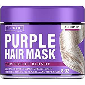 Purple Hair Mask – Hair Toner w/Avocado Oil, Retinol & Silk Protein for Blonde Hair, Ash & Platinum Hair – Made in USA – Greatly Lighten Brassy Hair and Condition Dry Damaged Hair – No Yellow Hues