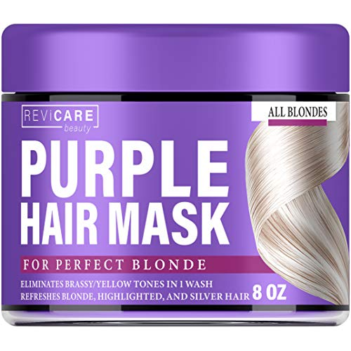 Purple Hair Mask - Hair Toner w/Avocado Oil, Retinol & Silk Protein for Blonde Hair, Ash & Platinum Hair - Made in USA - Greatly Lighten Brassy Hair and Condition Dry Damaged Hair - No Yellow Hues (Best Toner For Yellow Bleached Hair)