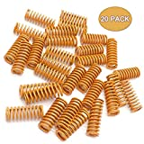 TinaWood 20 Pack 8mm OD 20mm Long Light Load Compression Mould Die Spring Yellow