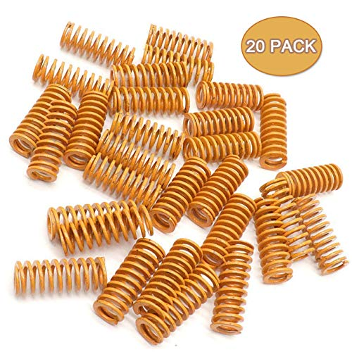 TinaWood 20 Pack 8mm OD 20mm Long Light Load Compression Mould Die Spring Yellow ()