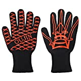 JERXUNY BBQ Heat Resistant Grilling Cooking Gloves Oven Mitts Silicone Insulated Silicone Oil Brush Protection Smoker and Kitchen Accessories (BlackRed)