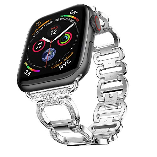 Price comparison product image Buybuybuy Bling Band Compatible Apple Watch Band 44mm 40mm iWatch Series 4,  Diamond Rhinestone Stainless Steel Metal Wristband Strap,  4 Colors Available (Silver,  40MM)
