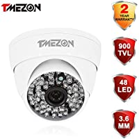 TMEZON 1/3 48pcs Infrared Leds 130ft IR Distance Cctv Home Security Camera 900TVL 960H Dome IR Cut 3.6mm Lens Night Vision Weatherproof Indoor/outdoor Surveillance Camera White