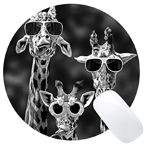 Funny Giraffe with Sunglasses Mouse Pad Round - Polaris Sunglasses