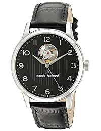 Claude Bernard Men's 85017 3 NBN Automatic Open Heart Analog Display Swiss Automatic Black Watch