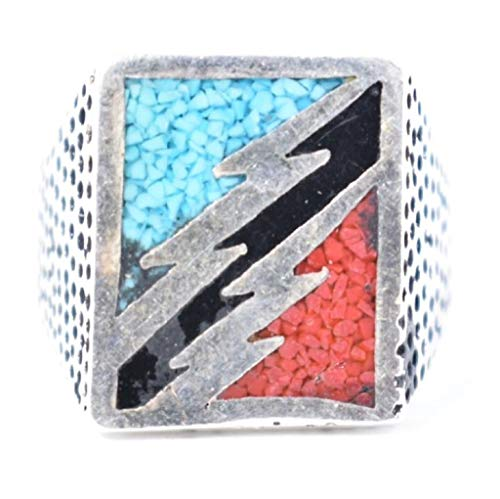 Nemesis Jewelry NYC Vintage Southwestern Inlay Blue Black Red Lightning Bolt Men's Ring from Nemesis Jewelry NYC