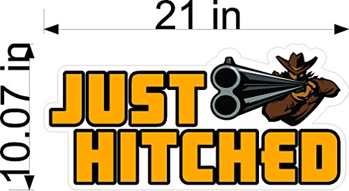 (Just Hitched Shotgun Wedding Static Cling Window Decals Removable and Reusable Wedding Clings Car Decorations)
