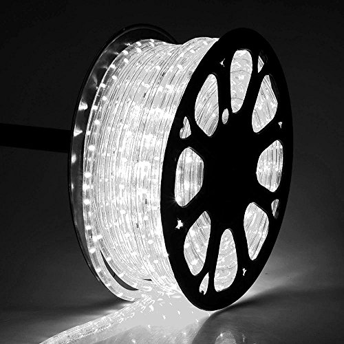 (DELight 150 FT Cool White 2 Wire LED Rope Light Outdoor Home Holiday Valentines Party Restaurant Cafe Decoration )