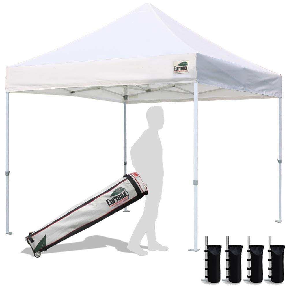 Eurmax 10'x10' Ez Pop Up Canopy Tent Commercial Instant Canopies with Heavy Duty Roller Bag,Bonus 4 sandbag Weights for Canopy(White)