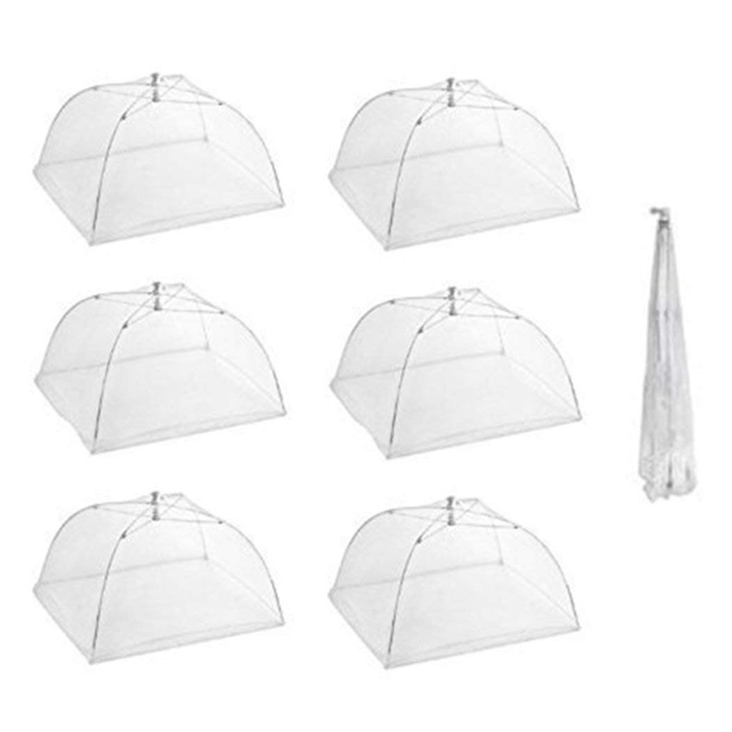 Onener Set of 6 Large Pop-Up Mesh Screen Food Cover Tent Umbrella - 16 Inch White Reusable and Collapsible Outdoor Picnic Food Covers Net for Outdoor Picnic & BBQ Keep Out Flies, Bugs & Mosquitoes