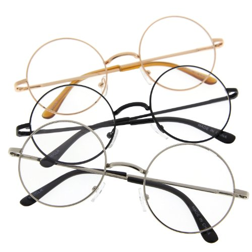 John Lennon Inspired Round Clear Lens Glasses Hippy Sunglasses Vintage 3 Pack ()