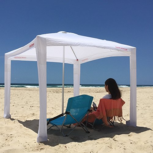 Cool Cabanas UPF 50,Providing 50+UV Protection,8 Pockets easy go coolcabana beach canopy sun shelter tent camping umbrella (Classic White)