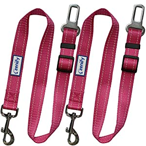 Zenify Dog Car Seat Belt Seatbelt Lead Puppy Harness – Heavy Duty Adjustable Carseat Clip Buckle Leash for Dogs Puppies… Click on image for further info.
