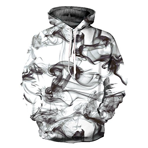 (OYABEAUTY Unisex Realistic 3d Print Galaxy Pullover Hoodie Hooded Sweatshirt (XX-Large/XXX-Large, Blackwhite2))