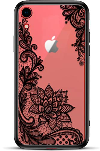 - Apple iPhone Xr Slim Fit Phone Case for Girls Women with Cute Black Flowers Design - Ultra Thin Matte Hard Plastic Case Cover and Protective Hybrid Rubber Bumper - Cool Floral Pattern