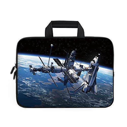 - Outer Space Decor Laptop Carrying Bag Sleeve,Neoprene Sleeve Case/Space Shuttle and Station View Cosmonaut Adventure on the Myst Globe Orbit Off/for Apple Macbook Air Samsung Google Acer HP DELL Lenov
