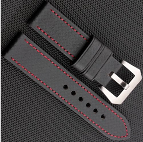 Stitching Fibers (Carbon Fiber- Black with Red Stitching handmade watch strap)
