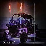 red and blue lights for atv - Xprite 5ft LED Flag Pole Safety Antenna Whip Lights for Sand Dune Buggy UTV ATV 4X4 Truck Jeep - RED WHITE BLUE