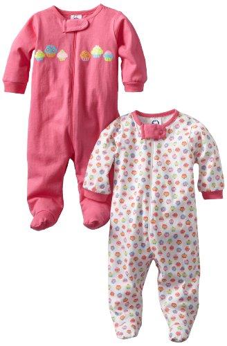 Gerber Baby-Girls  Two-Pack Sleep N Play Zip Front Cupcakes