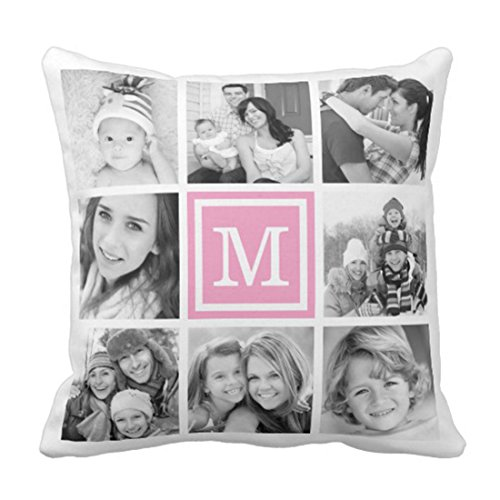Emvency Throw Pillow Cover Pink Monogram Instagram Photo Collage Decorative Pillow Case Family Home Decor Square 20 x 20 Inch Cushion Pillowcase Collage Pillow