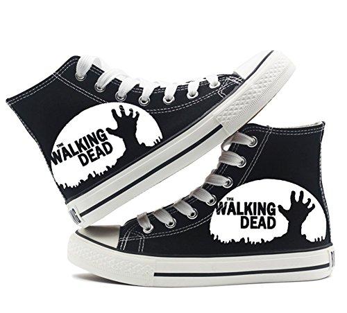 説教エピソードいたずらThe Walking Dead靴キャンバスシューズスニーカーホワイト/ブラック