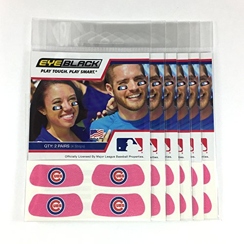 (24 Strips) Eye Black - Chicago Cubs Pink MLB Eye Black Anti Glare Strips, Great for Fans & Athletes on Game Day