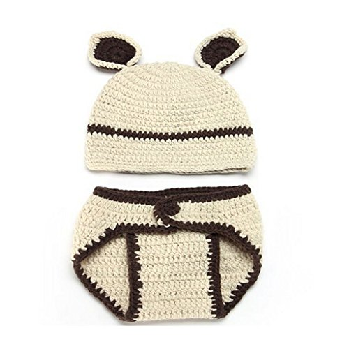 FuzzyGreen Cute Bear Crochet Knitted Photography Props Newborn Baby Outfits Diaper Costume