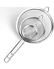 Fine Mesh Strainers 3 Pcs Stainless Steel Colanders and Sifters Set Handle Kitchen Colander for Egg White Separating Flour Sieving Draining and Rinsing Pastas, Tea, Dusting Confectioners' Sugar and More