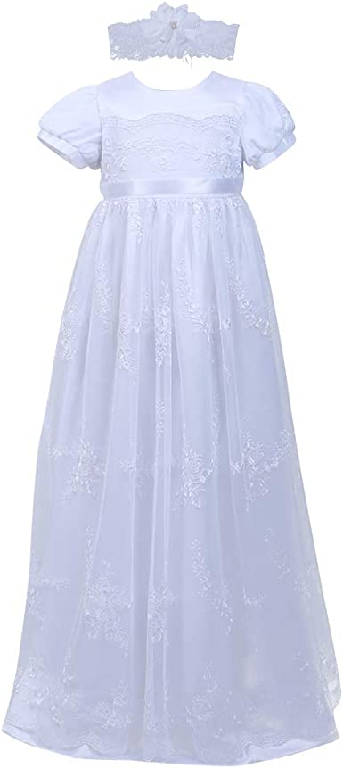 Christening White Formal Dress Goddaughter Baptism Gown 0-3 Newborn Set Gifts