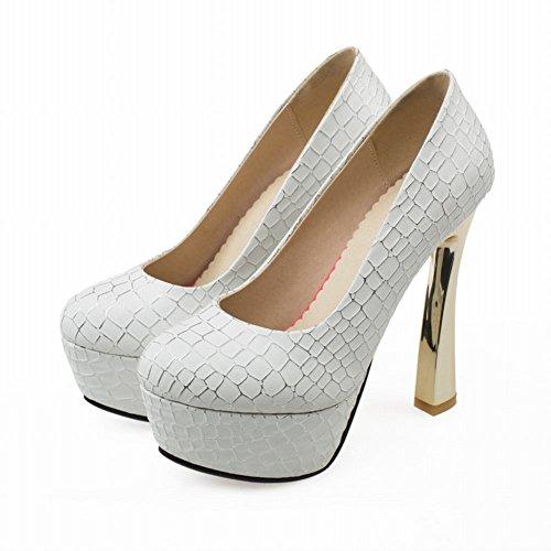 Mee Shoes Damen Plateau high heels runde Pumps Weiß