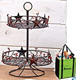 Gift Included- Decorative Stars & Berries Country Style Kitchen Decor Organizers + FREE Bonus Grocery, Beach Tote Bag by Homecricket (2-Tier Lazy Susan Fruit Basket)