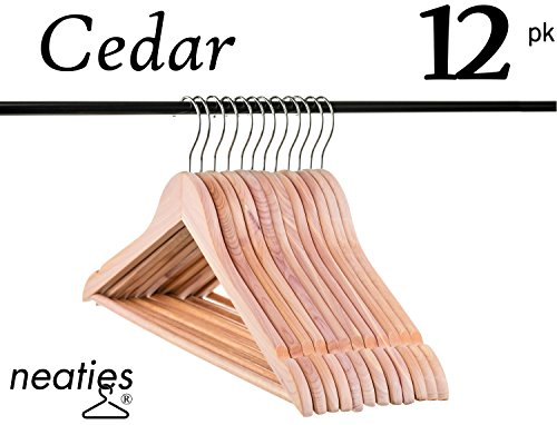 Natural American Cedar Wood Hangers w/Notches and Non-Slip Bar for Forest-Fresh Closet, Highest Quality Cedar Hangers, Set of 12