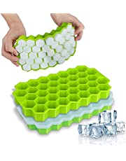Ice Cube Trays, 2 Pack Food Grade Silicone Ice Cube Molds 74-Ice Trays with Spill-Resistant Removable Lid, Flexible and BPA Free for Chilled Drinks, Whiskey and Cocktails